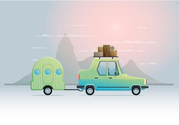 Векторная иллюстрация с автомобилем на тему путешествий.