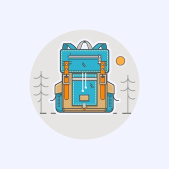Vector illustration with cartoon flat backpack and sport suitcase in modern flat linear style