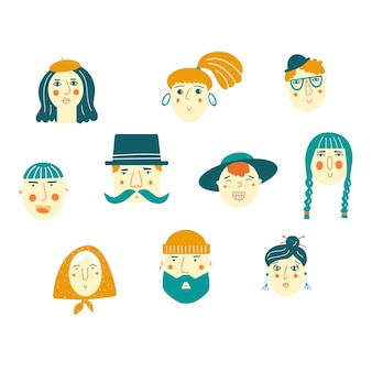 Vector illustration with cartoon people faces isolated on white background.