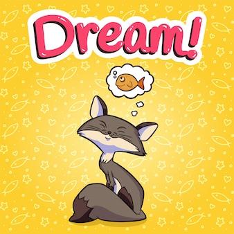 Векторная иллюстрация с кошкой мечтает о рыбе