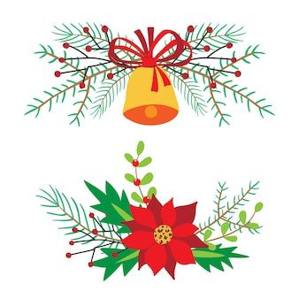 가문비 나무 가지, 홀리, 포 인 세 티아, 열매와 크리스마스 꽃 디자인 벡터 일러스트.