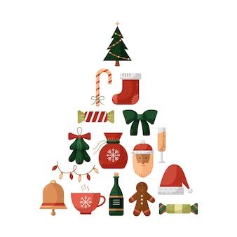 クリスマスツリーの形でクリスマスアイコンとベクトルイラスト。新年のイラスト