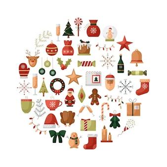 丸い形のクリスマスアイコンとベクトルイラスト。新年のイラスト