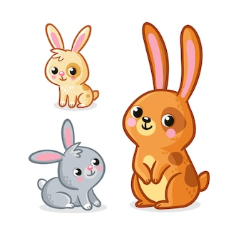 Vector illustration with collection of cute hares rabbits on a white background