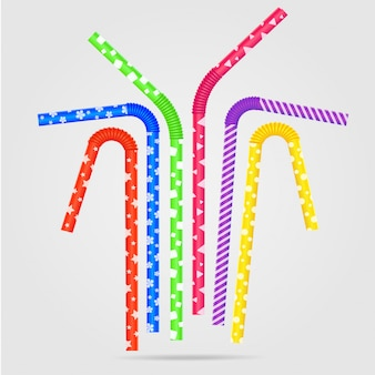 Vector illustration with colored drinking straws and different. drinking straws with plastic texture in isolation.