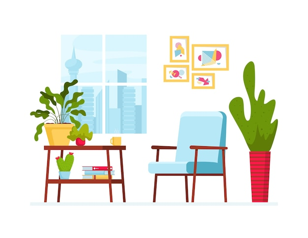 Vector illustration with cozy interior. window with cityview, table with house plants and books, scandinavian armchair and painting on the wall. modern and elegant home decor in scandinavian style.