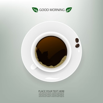 Vector illustration with cup of coffee and beans