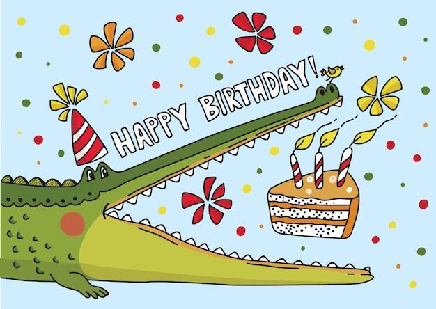 Vector illustration with cute crocodile. birthday card