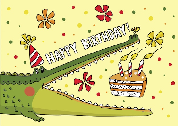 Vector illustration with cute crocodile
