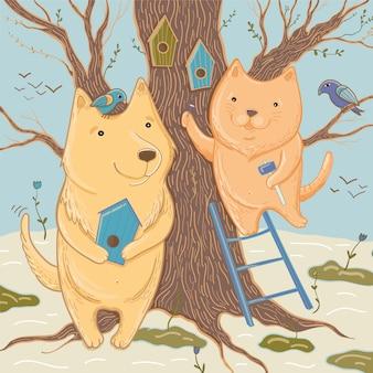 Векторная иллюстрация с милой собакой и кошкой, которые делают скворечники. весна идет! шаблон для поздравительной открытки.