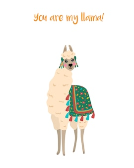 Vector illustration with cute elegant llama