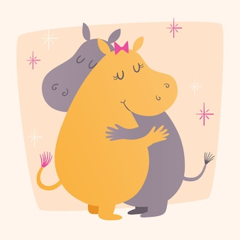 Vector illustration with cute hippos hugging