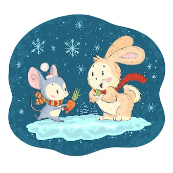 Vector illustration with cute little mouse and bunny characters on snowy winter background celebrating. hand drawn style. funny animals for children books, prints, clothes, nursery, interiors.