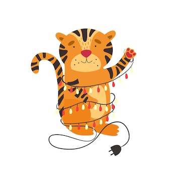 Vector illustration with a cute tiger entangled in a new years garland