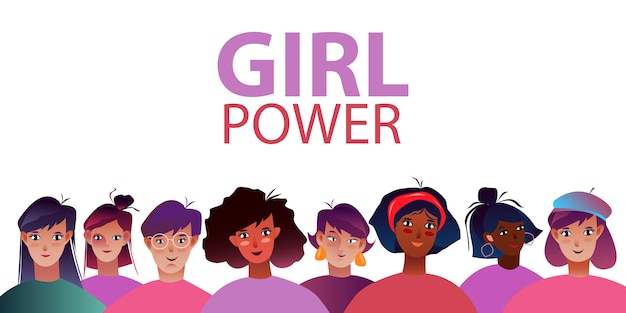 Vector illustration with different women. girl power banner with female faces in flat style.
