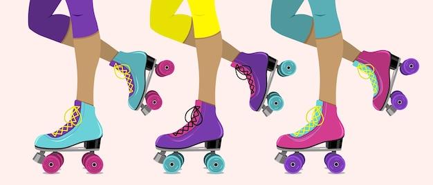 Векторная иллюстрация с женскими ногами в ретро роликовых коньках
