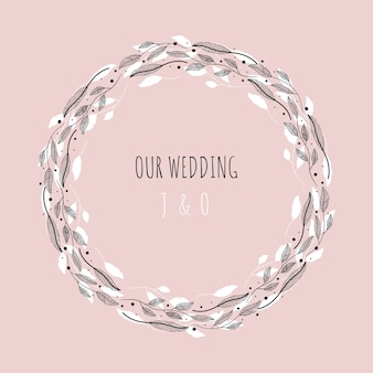 Vector illustration with floral frame our wedding.