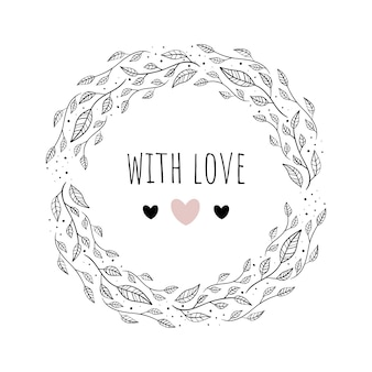 Vector illustration with floral framewith love.