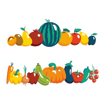 Vector illustration with fresh organic vegetables and fruits isolated on white background