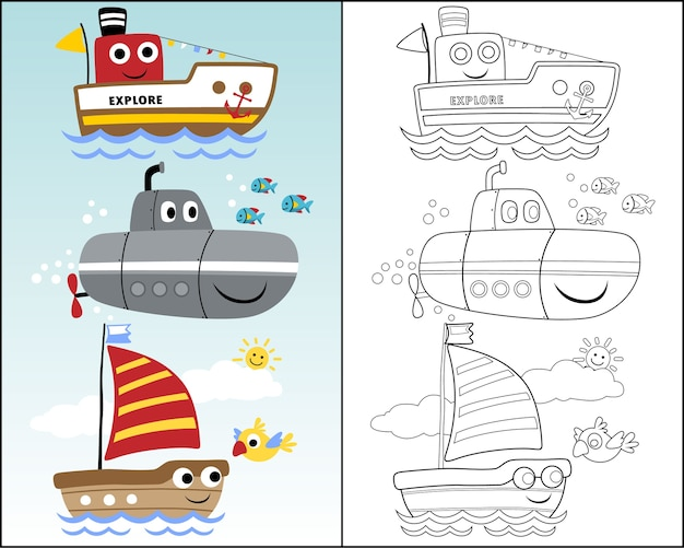 Vector illustration with funny sea transportation
