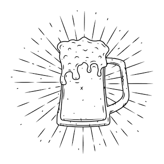 Vector illustration with glass of beer and divergent rays.