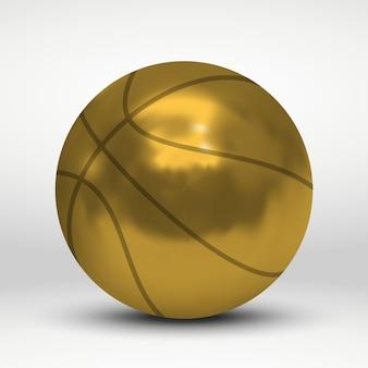 Vector illustration with golden basketball ball over white background