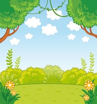 만화 스타일의 녹색 선과 나무가 있는 벡터 일러스트 레이 션