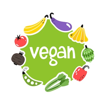 Vector illustration with hand drawn vegetables and vegan text.