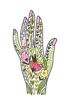 Vector illustration with hand and flowers
