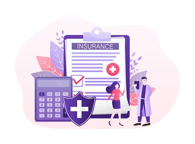 Vector illustration with health insurance concept. big clipboard with doctor and woman.