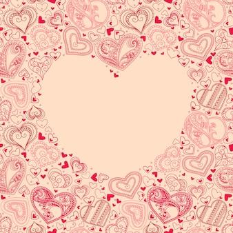 마음과 텍스트에 대 한 장소 벡터 일러스트 레이 션. 청첩장, 발렌타인 데이 카드 또는 사랑에 대한 카드에 사용할 수 있습니다.