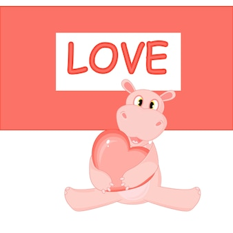 Vector illustration with hippo on valentine's day.