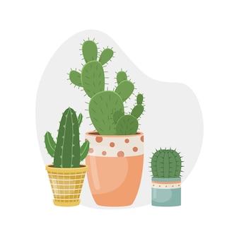 Векторная иллюстрация с домашними растениями в горшках. декоративные растения в интерьере дома. плоский стиль.