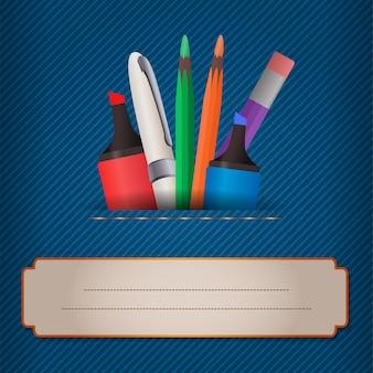 Векторная иллюстрация с фоном джинсы, маркеры и цветные карандаши