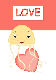 Vector illustration with jellyfish for valentine's day.