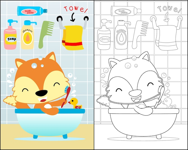 Vector illustration with little fox in the bathroom
