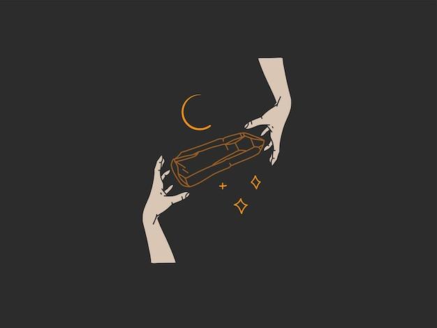 Vector illustration with logo elementbohemian magic art of crystal silhouettecrescent