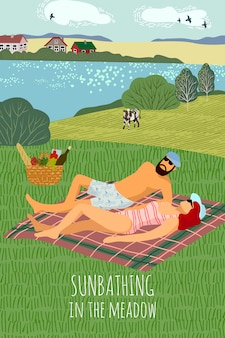 Vector illustration with a man and a woman,sunbathing on the nature