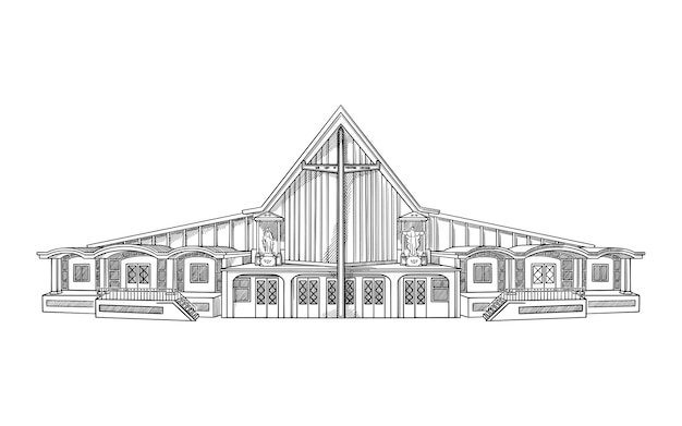 Vector illustration with modern church. architecture building sketch.