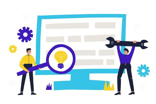 オフィスワーカーとベクトルイラスト。ワークフロービジネスコンセプト