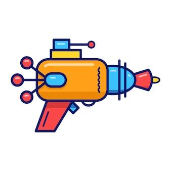 白い背景の上の1つの漫画レトロブラスター黄色レーザー武器とベクトル図