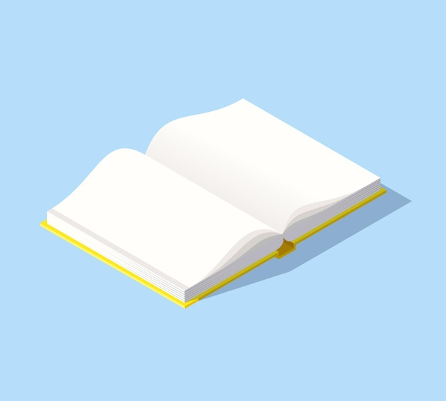 背景に分離された開いた本とベクトルイラスト。