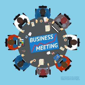 Illustrazione vettoriale con una vista dall'alto di uomini d'affari a un tavolo rotondo negoziante con computer tablet grafici grafici e un laptop
