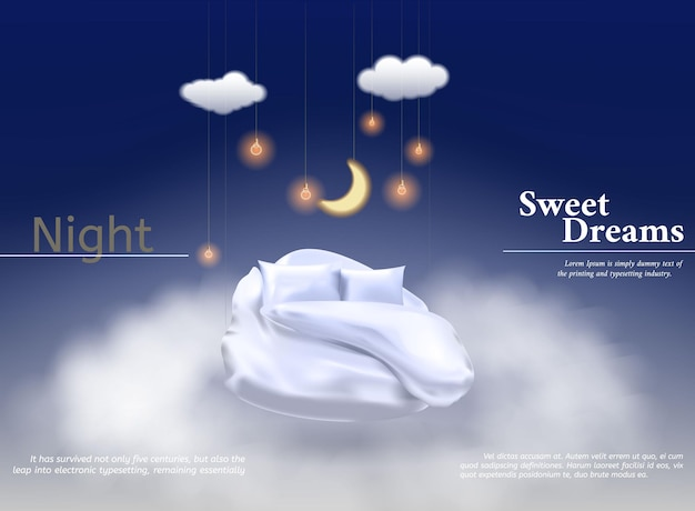 Vector illustration with realistic d pastel blanket pillow for best sleep comfortable sleep