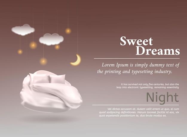 최고의 수면을 위한 현실적인 d 파스텔 담요 베개가 있는 벡터 그림