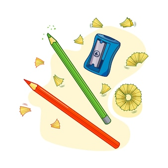 Vector illustration with sharpener and pencils. objects are isolated.