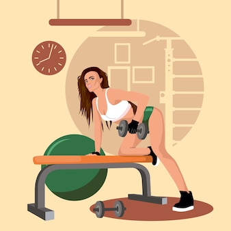 Vector illustration with a sporty sexy girl
