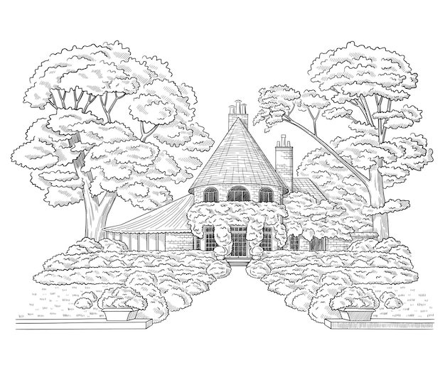 Vector illustration with style mansion country estate building architecture sketch