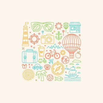 Vector illustration with summer icons
