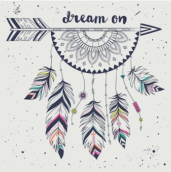 Vector illustration with tribal arrow, dream catcher with feathers